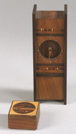Robert McKeown Wooden Desk Clock and Small Box.
