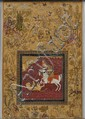 Miniature Painting, Persia, 17th century, depicting a warrior on horseback during a successful hunt, subduing a tiger with a spear w...