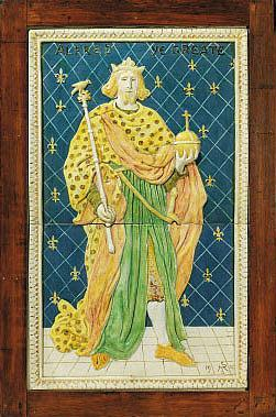 A Della Robbia framed plaque of Alfred the Great