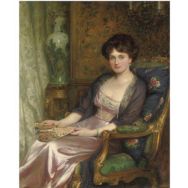 Sir Frank Dicksee P.R.A. , 1853-1928 portrait of mrs george pinckard oil on canvas