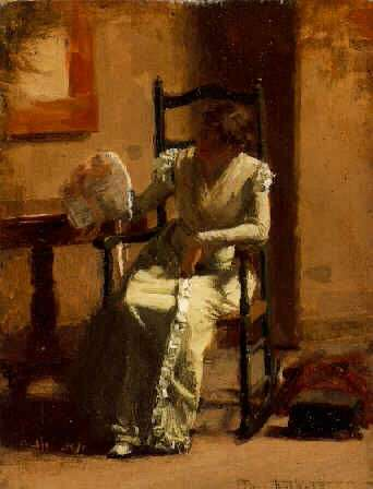 THOMAS ANSHUTZ (1851-1912) SEATED WOMAN WITH BONNET IN AN INTERIOR