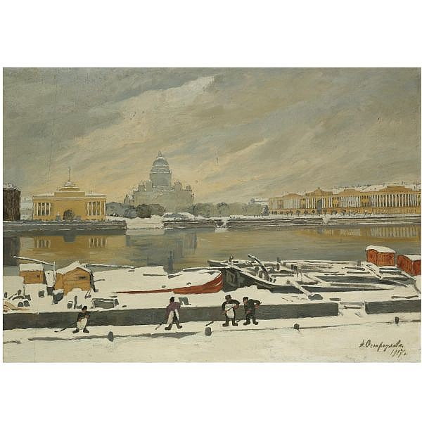 f - Anna Petrovna Ostroumova-Lebedeva, 1871-1955 , first snow oil on board