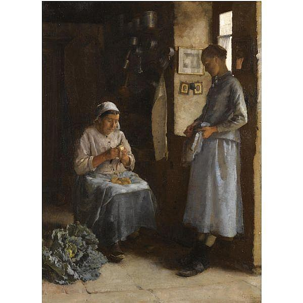 Frederick Brown , 1851 - 1941 peasant fare oil on canvas