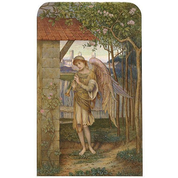 John Melhuish Strudwick , 1849-1935 an angel, from a golden thread watercolour, arched top