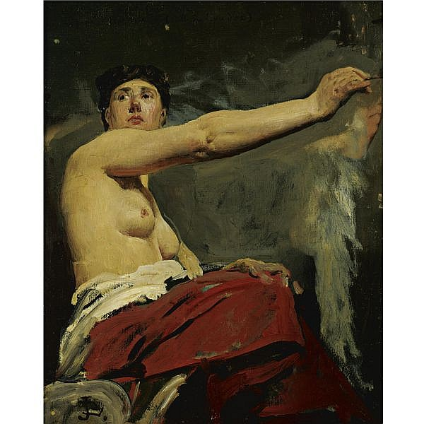 Jean-Paul Laurens 1838-1921 , Study for the central figure in the ceiling of the Palais de la Legion d'Honneur oil on canvas