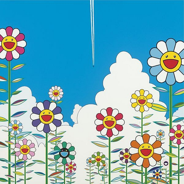 Takashi Murakami , B. 1962 Vapor Trail acrylic on canvas mounted on panel
