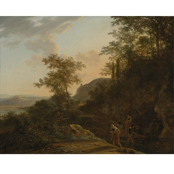 Jan Both , Utrecht circa 1618 - 1652 Italianate Landscape with a Mountain Path and Ford oil on canvas