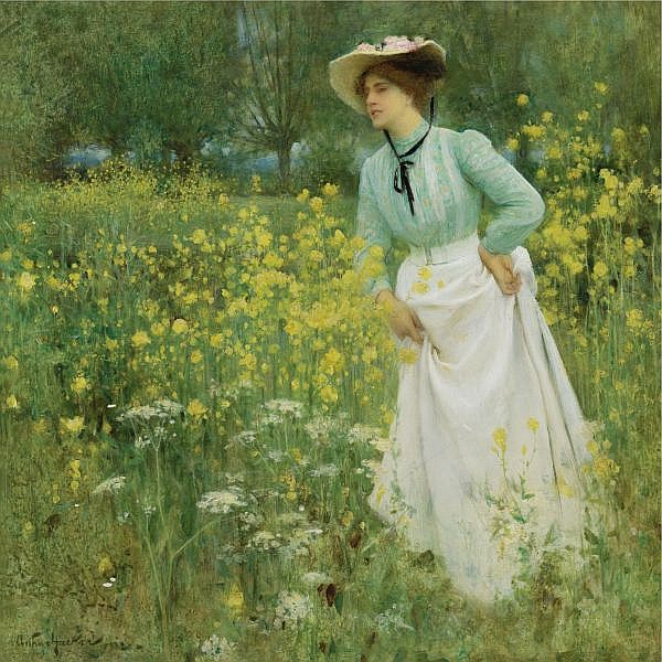 f - Arthur Hacker, R.A. 1858-1919 , a morning walk oil on canvas