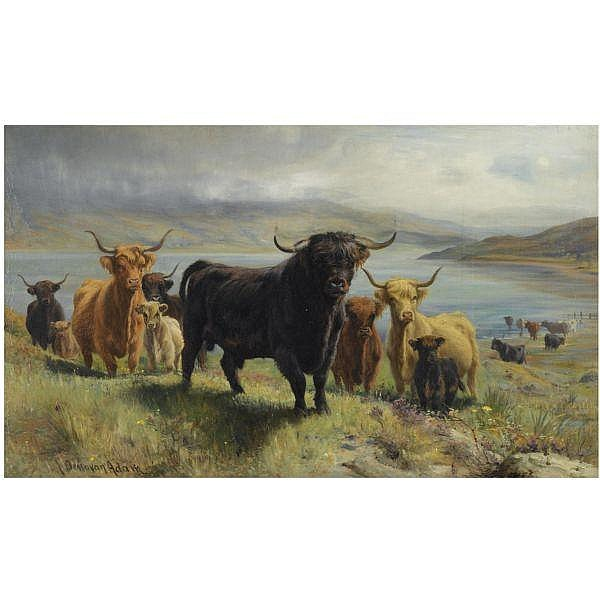 Joseph Denovan Adam , 1842 - 1896 highland cattle oil on canvas