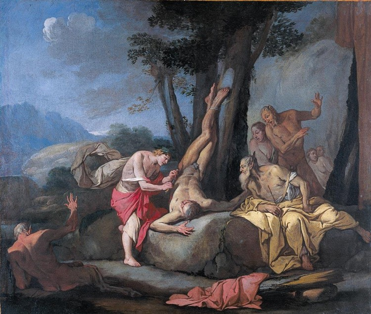PROPERTY FROM A EUROPEAN NOBLE COLLECTION GIULIO CARPIONI VENICE 1613 - 1678 APOLLO AND MARSYAS