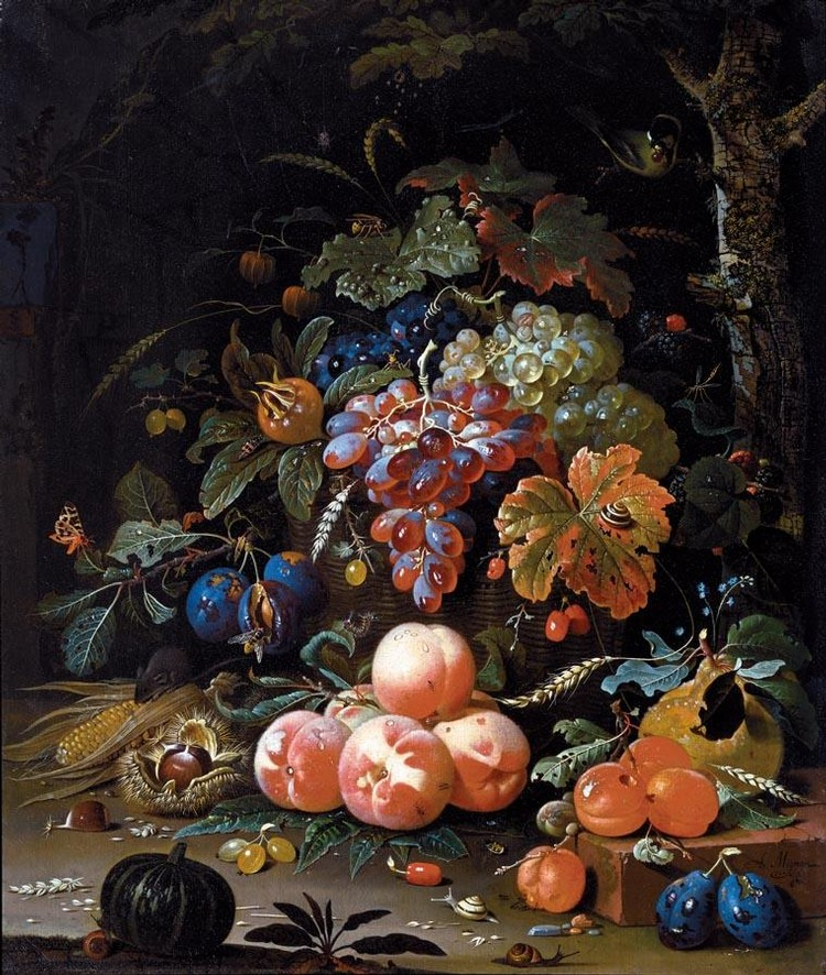 f - ABRAHAM MIGNON FRANKFURT 1640-1679 UTRECHT A STILL LIFE OF RED AND WHITE GRAPES IN A BASKET,