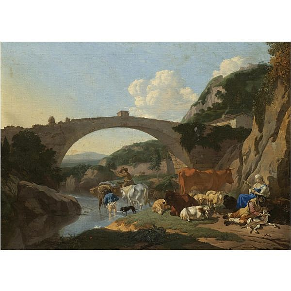 Karel Du Jardin Amsterdam 1626 - 1678 Venice , ITALIANATE LANDSCAPE WITH HERDERS AND ANIMALS RESTING BY A RIVER UNDER A BRIDGE oil on canvas in a Gustavian carved and gilt wood frame, numbered 23.