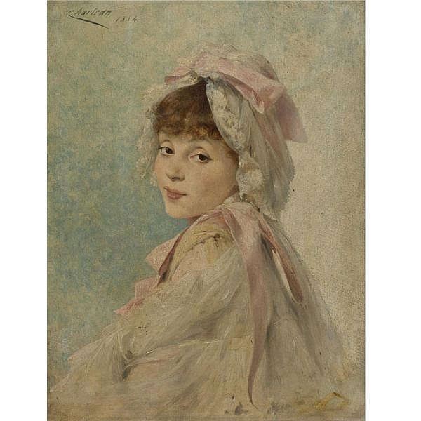 Théobald Chartran , French 1849-1907 Portrait of Gabrielle Réjane as a Young Actress oil on panel