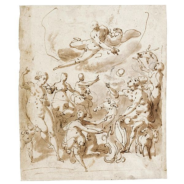 Jacopo Zucchi Florence circa 1540 - 1596 Rome , an allegorical subject, possibly commemorating a marriage, with jupiter above and various figures below, one holding a shield pen and brown ink and wash over black chalk
