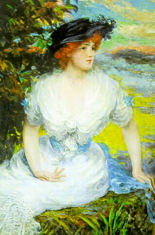 James Carroll Beckwith 1852 - 1917 WOMAN IN A WHITE DRESS Signed Carroll Beckwith (lr) Oil on