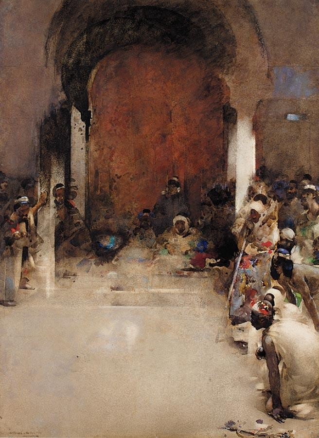 ARTHUR MELVILLE 1855-1904 THE COCK FIGHT