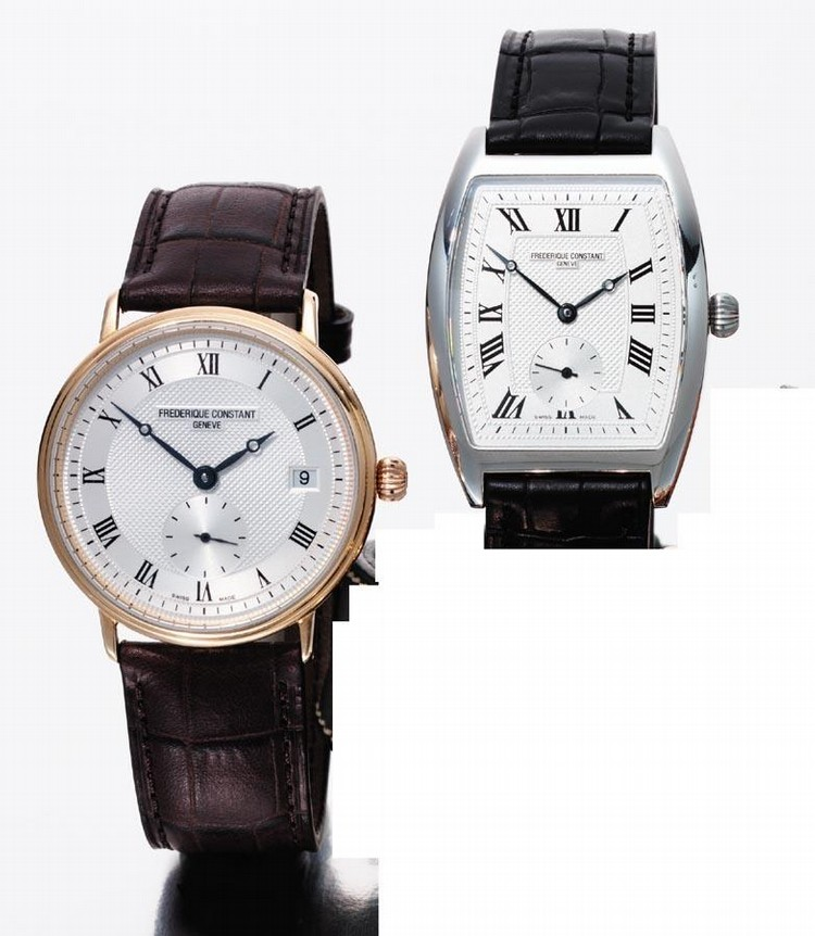 c - FRÉDÉRIQUE CONSTANT, 'PESEUX', CIRCA 2005, NO. 27 OF A LIMITED EDITION OF 199 PIECES; A SET OF TWO GOLD WRISTWATCHES