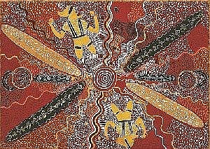 LONG JACK PHILLIPUS TJAKAMARRA BORN CIRCA 1932 CORROBOREE FOR YOUNG MEN 1972 45.5 by 64 cm Synthetic polymer paint on composition board Bears Stuart Art Centre consignment number 12041 on the reverse of the frame Provenance: Painted at Papunya in