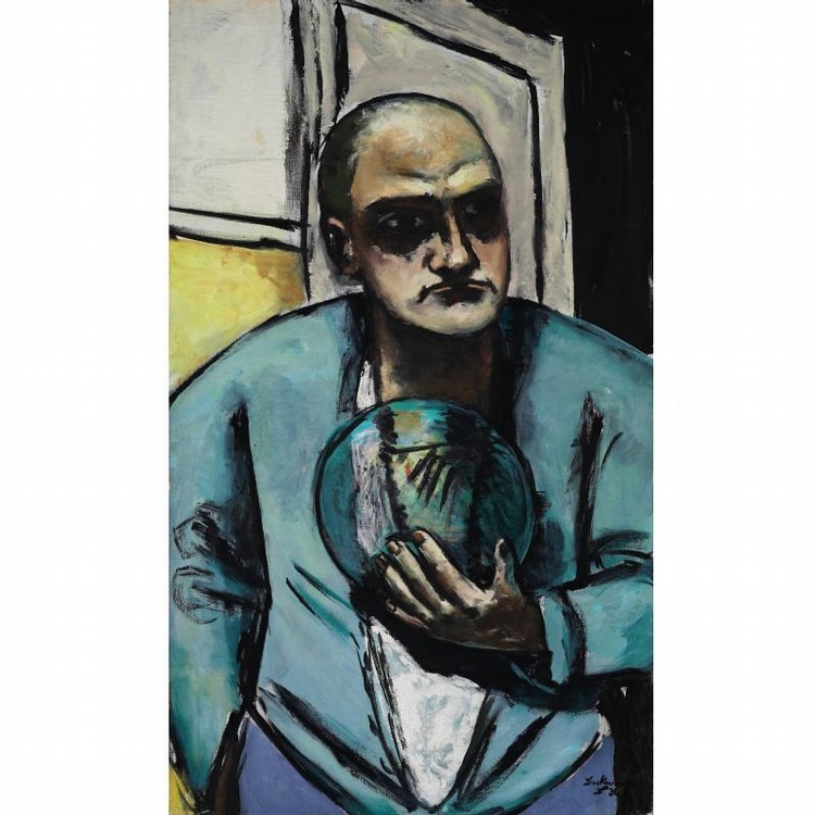 f - MAX BECKMANN 1884-1950 SELBSTBILDNIS MIT GLASKUGEL (SELF-PORTRAIT WITH CRYSTAL BALL)