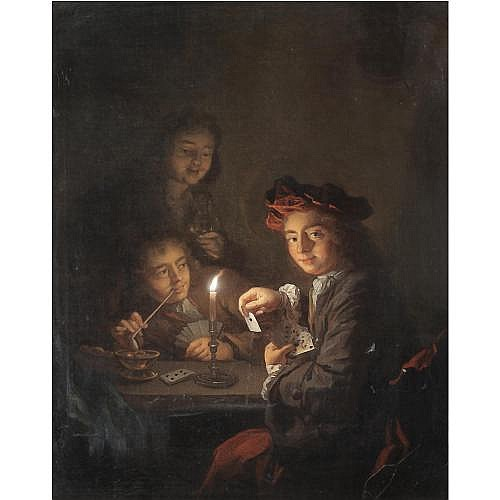 Arnold Boonen Dordrecht 1669 - 1729 Amsterdam , A candlelit interior with boys playing cards
