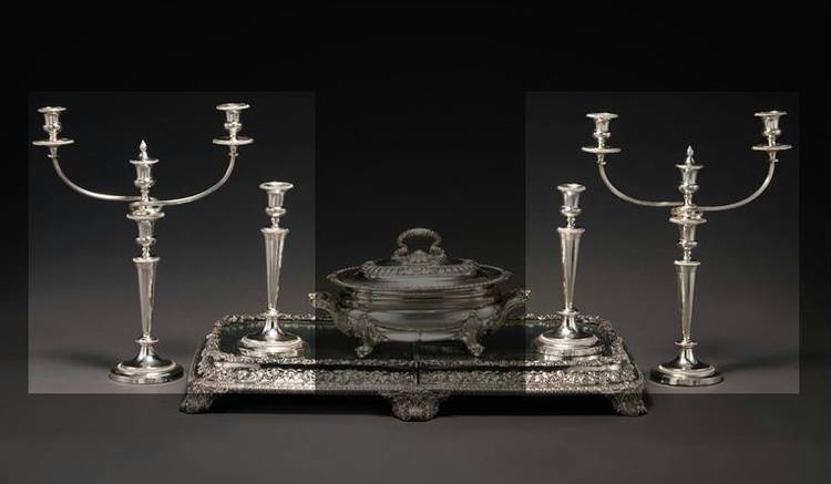 A SET OF FOUR SHEFFIELD PLATED TABLE CANDLESTICKS WITH A PAIR OF TWO- OR THREE-LIGHT BRANCHES, MATTHEW BOULTON PLATE CO., CIRCA 1800