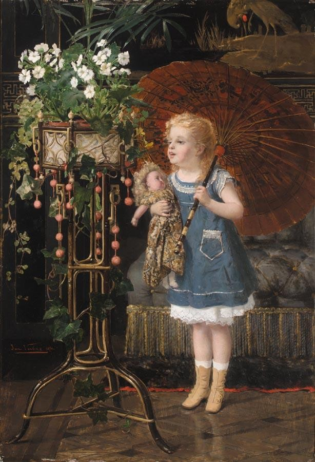 JAN FRANOIS VERHAS BELGIAN, 1834-1896 JEUNE FILLE A LA POUPEE ET OMBRELLE