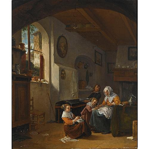 Thomas Wijck Beverwijk circa 1616 - 1677 Haarlem , an interior with a mother teaching a girl to write, a young boy carrying a bowl, and another girl embroidering in the foreground 