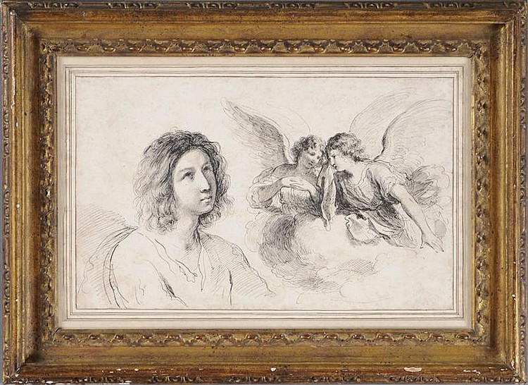 FRANCESCO BARTOLOZZI (1725/27-1815): A BOY LOOKING UP AND TWO WEEPING ANGELS ON A CLOUD, AFTER GUERCINO