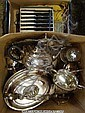 Box of silver plate, cutlery etc
