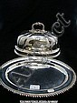 Silver plated oval salver and a large cover