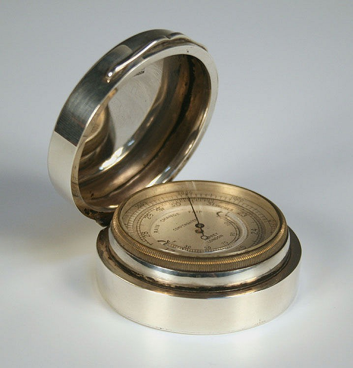 A George V silver cased pocket barometer, the
