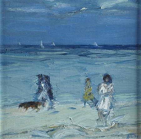 &sect; JOHN HOUSTON R.S.A., O.B.E. (SCOTTISH 1930-2008) BEACH, TROUVILLE 25.5cm x 25.5cm (10in x 10in)