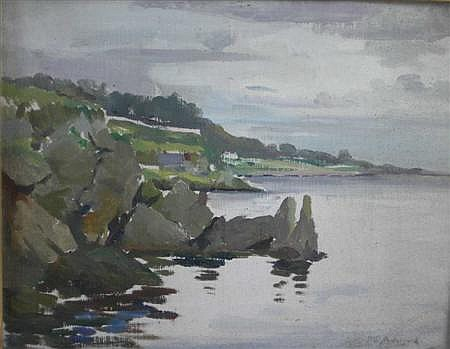 WILLIAM S ANDERSON (BRITISH FL. 1917-1930) ROCKY COASTAL SCENE, POSSIBLY GARELOCH 25cm x 33cm (10in x 13in)
