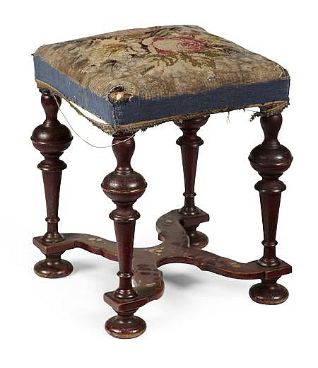 WILLIAM & MARY RED JAPANNED FOOTSTOOL EARLY 18TH CENTURY 36cm wide, 48cm high, 35cm deep