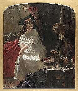 EDWARD MATTHEW WARD R.A (1816-1879) CHARLOTTE CORDAY- HER LAST TOILETTE BEFORE HER EXECUTION 75cm x 63cm (30in x 25in)