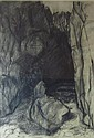 &sect; KATE DOWNIE R.S.A. (SCOTTISH B.1958) THE PIGEON'S CAVE, 1989 53cm x 73cm (21in x 28.75in)