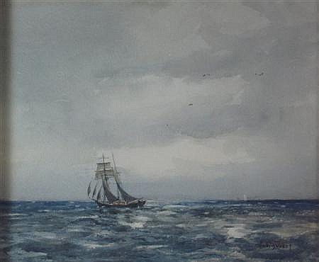 DAVID WEST V.P.R.S.W. (SCOTTISH 1868-1936) A SAILING BOAT IN FULL SAIL 20cm x 25cm (8in x 10in)