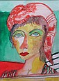 &sect; JOHN BELLANY H.R.S.A., R.A., C.B.E. (SCOTTISH B. 1942) RED HEAD SCARF 36cm x 25.5cm (14in x 10in)