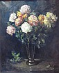 &sect; HENRY RAEBURN DOBSON (SCOTTISH B.1901) STILL LIFE OF CHRYSANTHEMUMS 91cm x 70cm (35.75in x 27.5in)
