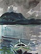 &sect; JOHN HOUSTON O.B.E., R.S.A. (SCOTTISH 1930-2008) THE ROW BOAT 49cm x 37cm (19.25in x 14.5in)