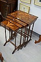Vintage French nest of four tables, with incised