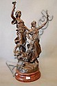 Antique French bronzed spelter figure group of two
