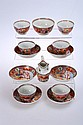 A set of six New Hall tea bowls and saucers, cream