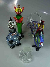 Three Murano Glass Clowns etc