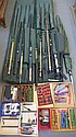 A collection of 8 match and ledger rods 2 section