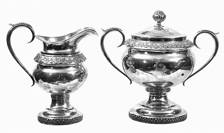 COIN SILVER CREAMER AND SUGAR