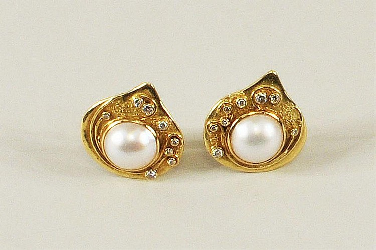 Pair Elizabeth Gage Gold, Diamond & Pearl Earrings