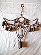 Western, Cow's Head Wind Chimes Western theme, cow's head with cow bells wind chime made of metal, 17 1/2