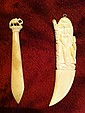 Two Pieces of Carved Oxbone/Faux Ivory Two pieces of Chinese carved Ivory - one Letter Opener and one carved elephant decorated clip, detail workmanship.